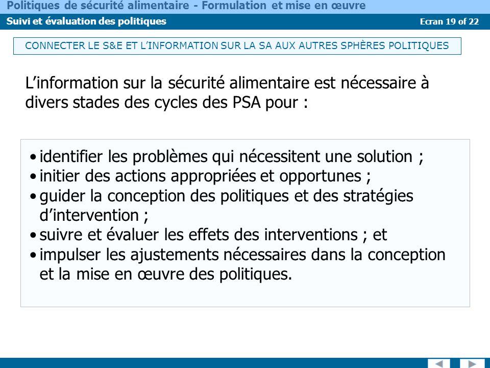 Ecran 19 of 22 Politiques de sécurité alimentaire - Formulation et mise en œuvre Suivi et évaluation des politiques CONNECTER LE S&E ET LINFORMATION S
