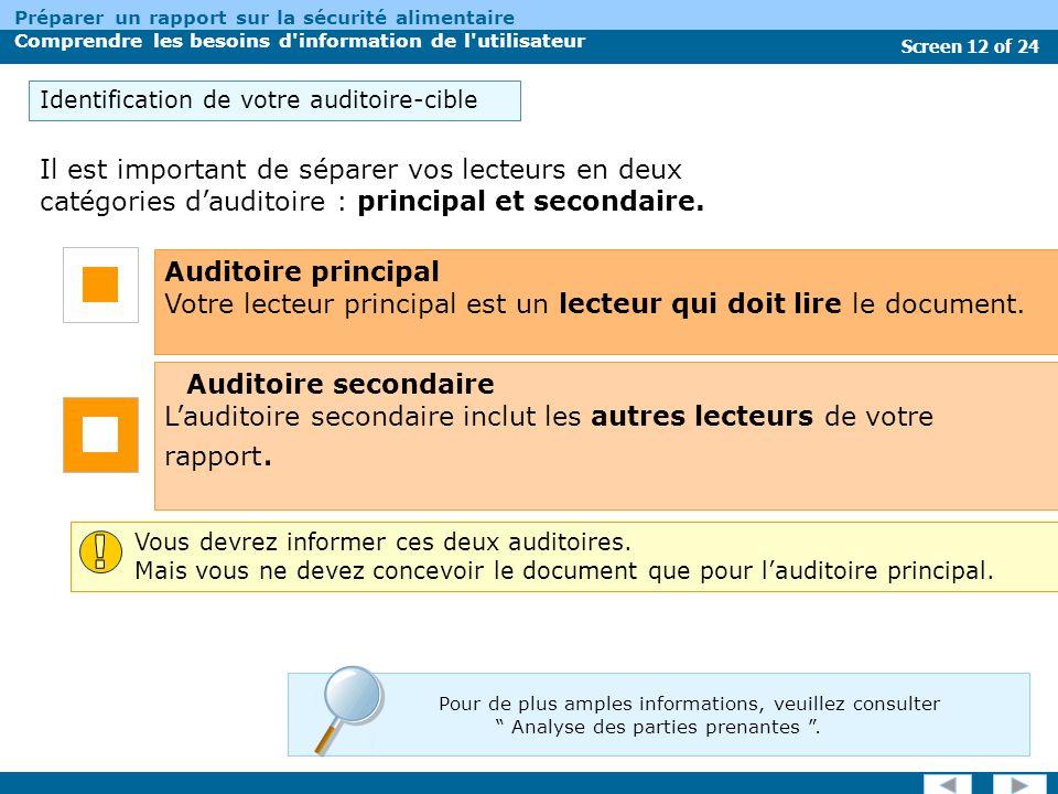 Screen 12 of 24 Préparer un rapport sur la sécurité alimentaire Comprendre les besoins d information de l utilisateur Il est important de séparer vos lecteurs en deux catégories dauditoire : principal et secondaire.