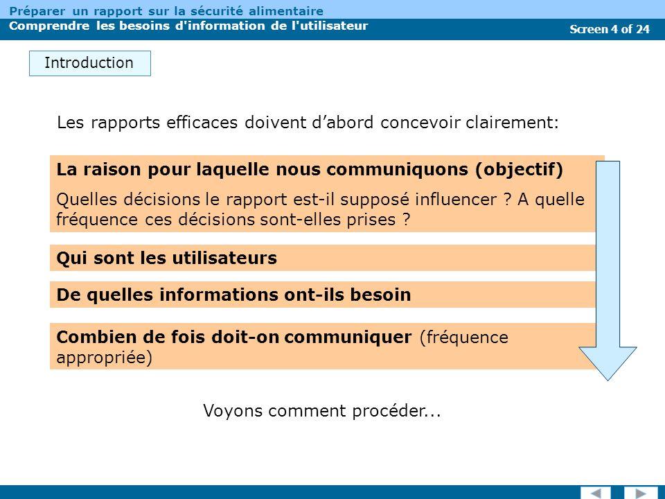 Screen 4 of 24 Préparer un rapport sur la sécurité alimentaire Comprendre les besoins d information de l utilisateur Introduction La raison pour laquelle nous communiquons (objectif) Quelles décisions le rapport est-il supposé influencer .