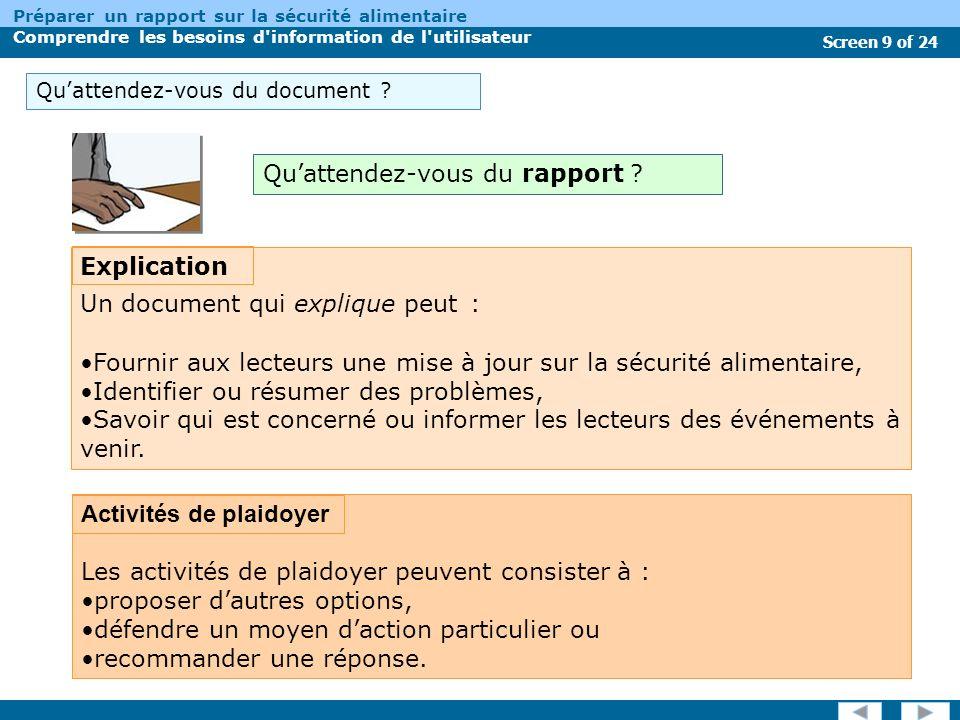 Screen 9 of 24 Préparer un rapport sur la sécurité alimentaire Comprendre les besoins d information de l utilisateur Quattendez-vous du document .