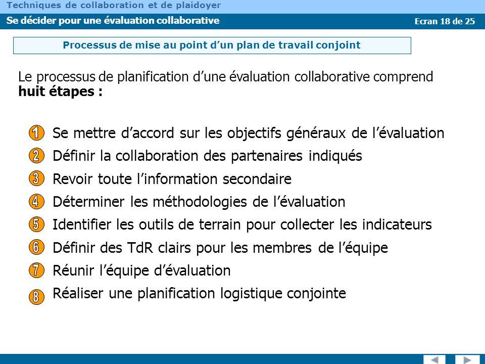 Ecran 18 de 25 Techniques de collaboration et de plaidoyer Se décider pour une évaluation collaborative Le processus de planification dune évaluation