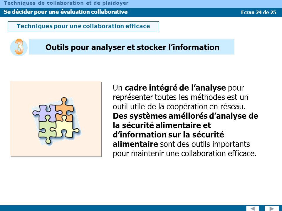 Ecran 24 de 25 Techniques de collaboration et de plaidoyer Se décider pour une évaluation collaborative Outils pour analyser et stocker linformation U