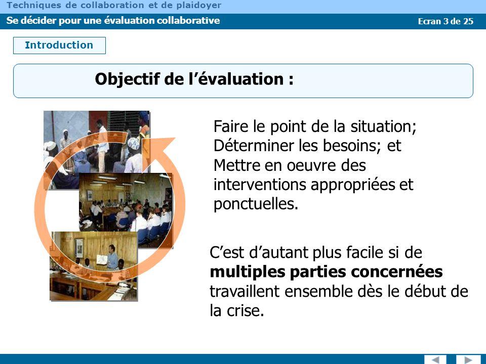 Ecran 3 de 25 Techniques de collaboration et de plaidoyer Se décider pour une évaluation collaborative Objectif de lévaluation : Introduction Faire le