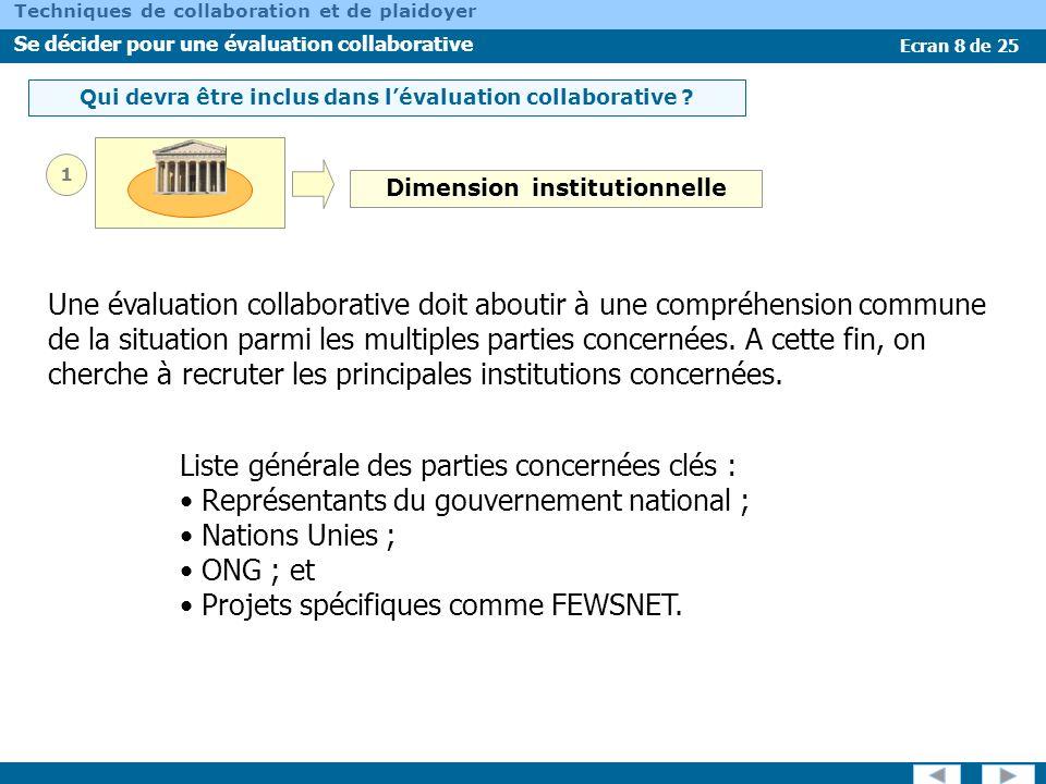 Ecran 9 de 25 Techniques de collaboration et de plaidoyer Se décider pour une évaluation collaborative Qui devra être inclus dans lévaluation collaborative .