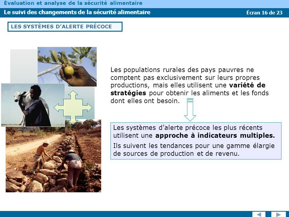 Écran 16 de 23 Évaluation et analyse de la sécurité alimentaire Le suivi des changements de la sécurité alimentaire LES SYSTÈMES DALERTE PRÉCOCE Les p