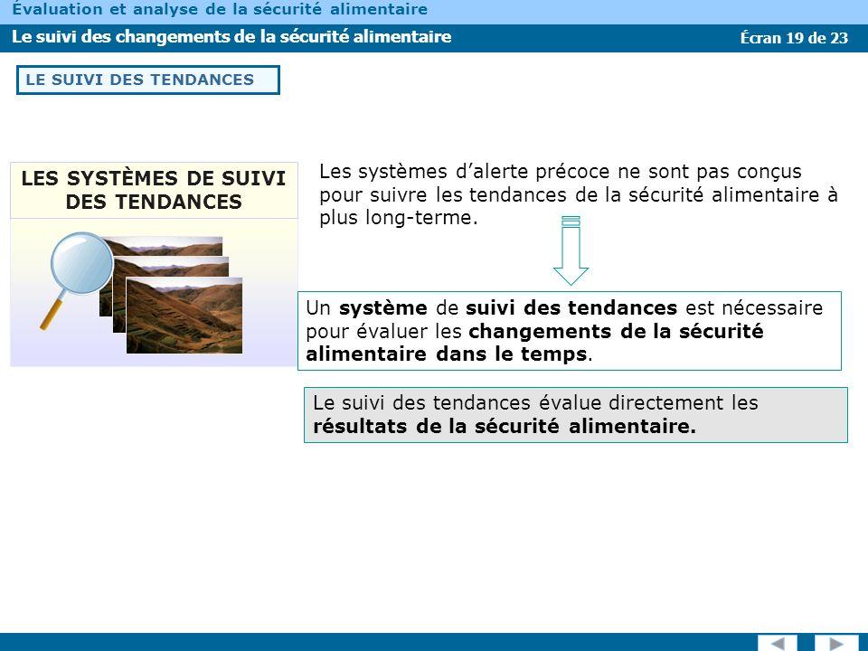 Écran 19 de 23 Évaluation et analyse de la sécurité alimentaire Le suivi des changements de la sécurité alimentaire LE SUIVI DES TENDANCES Les système