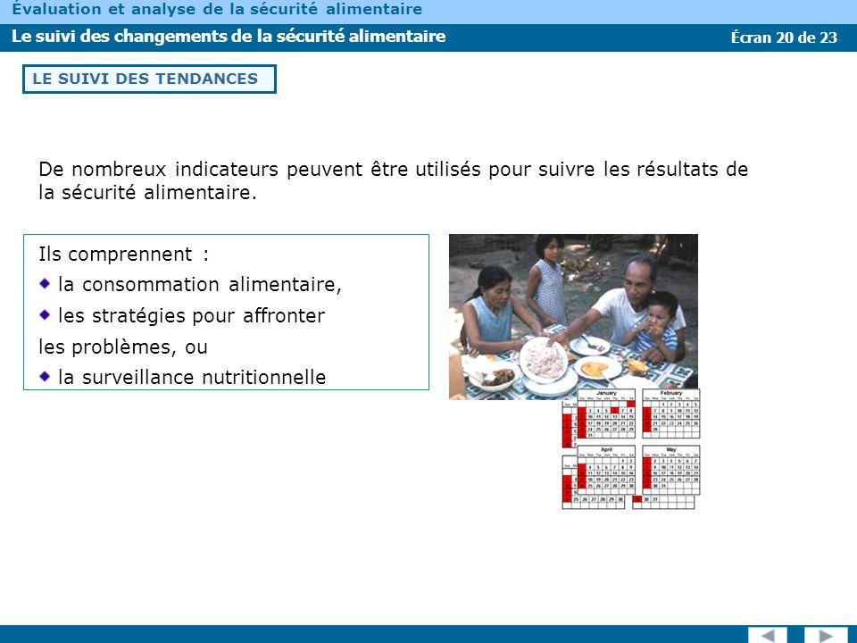 Écran 20 de 23 Évaluation et analyse de la sécurité alimentaire Le suivi des changements de la sécurité alimentaire LE SUIVI DES TENDANCES De nombreux