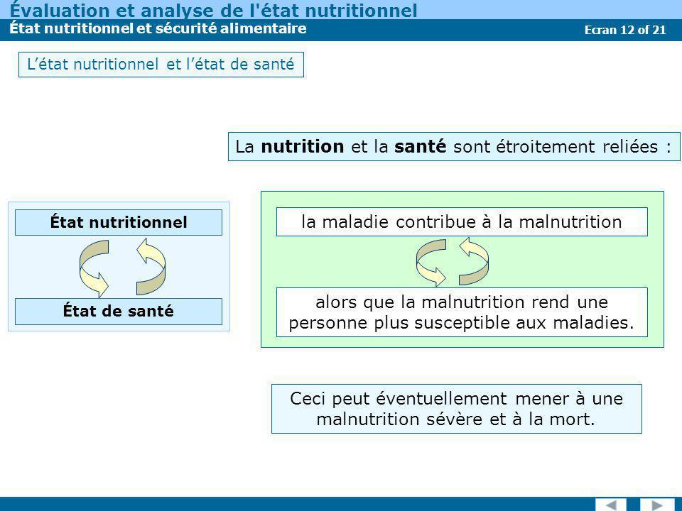 Évaluation et analyse de l'état nutritionnel État nutritionnel et sécurité alimentaire Ecran 12 of 21 Létat nutritionnel et létat de santé Ceci peut é