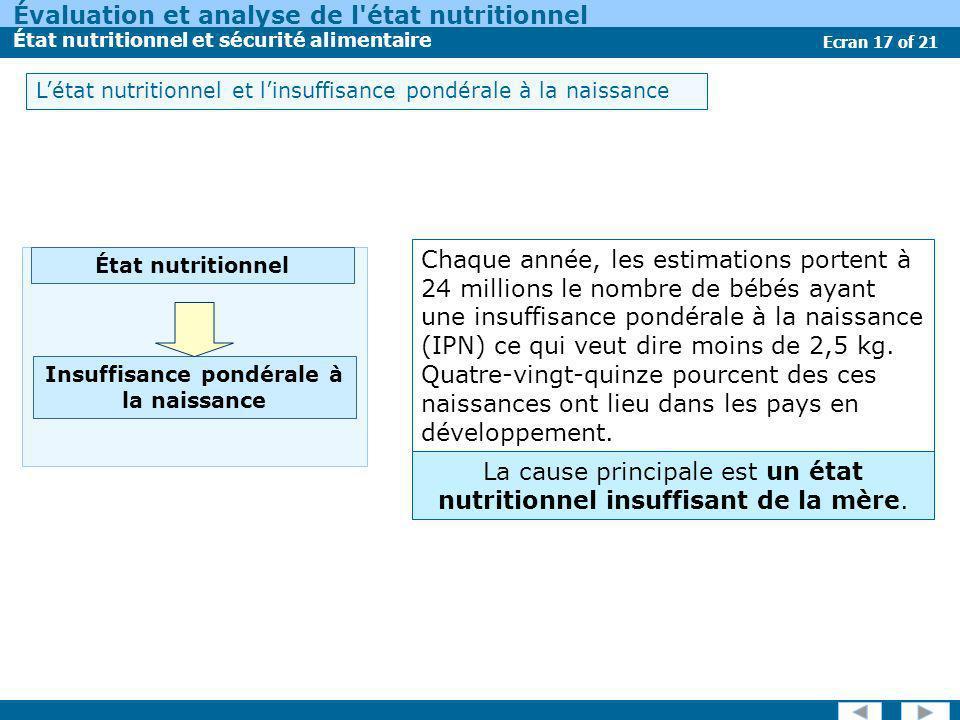 Évaluation et analyse de l'état nutritionnel État nutritionnel et sécurité alimentaire Ecran 17 of 21 Chaque année, les estimations portent à 24 milli