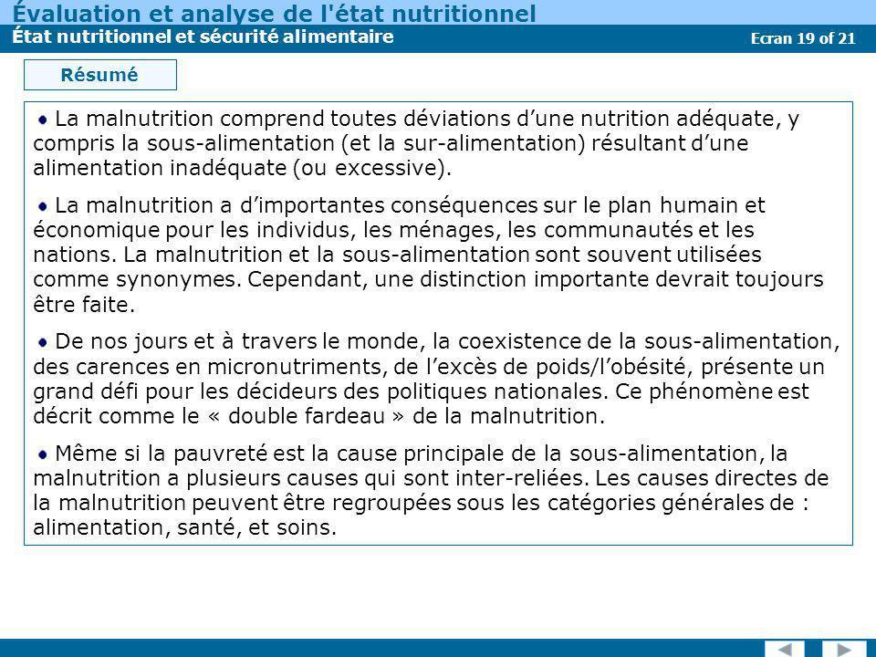 Évaluation et analyse de l'état nutritionnel État nutritionnel et sécurité alimentaire Ecran 19 of 21 Résumé La malnutrition comprend toutes déviation