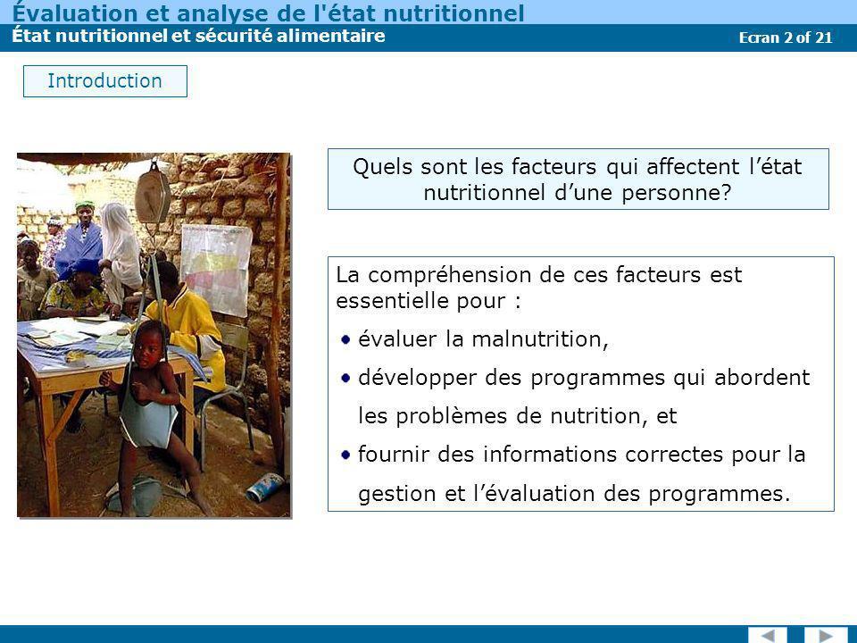 Évaluation et analyse de l'état nutritionnel État nutritionnel et sécurité alimentaire Ecran 2 of 21 Introduction La compréhension de ces facteurs est
