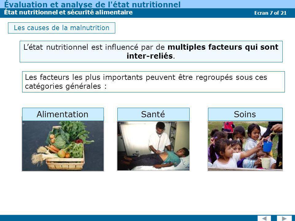 Évaluation et analyse de l état nutritionnel État nutritionnel et sécurité alimentaire Ecran 8 of 21 Lalimentation, la santé et les soins sont inter- reliés : les actions affectant un secteur pourraient avoir des conséquences significatives sur les autres secteurs.