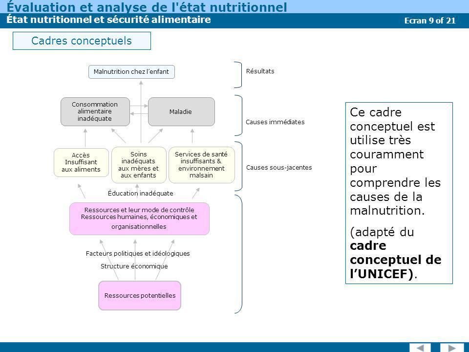 Évaluation et analyse de l état nutritionnel État nutritionnel et sécurité alimentaire Ecran 10 of 21 Un autre cadre conceptuel pour la malnutrition est: le cadre des Systèmes d Information et de Cartographie sur l Insécurité Alimentaire et la Vulnérabilité (SICIAV) pour la sécurité alimentaire, les sources de revenu et la nutrition.