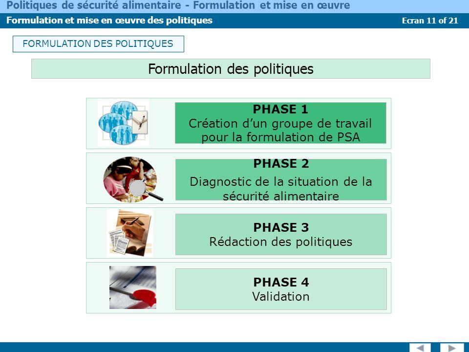 Ecran 11 of 21 Politiques de sécurité alimentaire - Formulation et mise en œuvre Formulation et mise en œuvre des politiques FORMULATION DES POLITIQUE