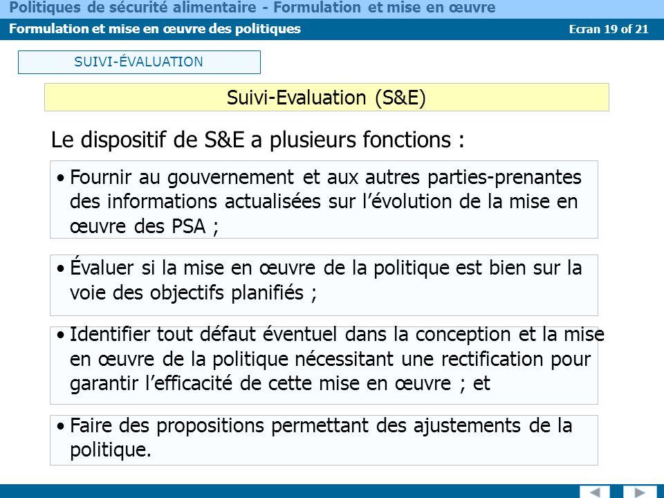 Ecran 19 of 21 Politiques de sécurité alimentaire - Formulation et mise en œuvre Formulation et mise en œuvre des politiques SUIVI-ÉVALUATION Suivi-Ev