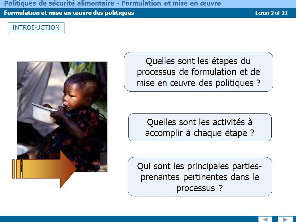 Ecran 2 of 21 Politiques de sécurité alimentaire - Formulation et mise en œuvre Formulation et mise en œuvre des politiques INTRODUCTION Qui sont les