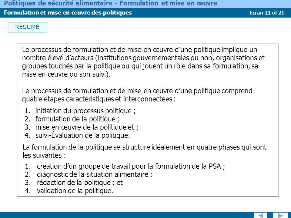 Ecran 21 of 21 Politiques de sécurité alimentaire - Formulation et mise en œuvre Formulation et mise en œuvre des politiques RÉSUMÉ Le processus de fo