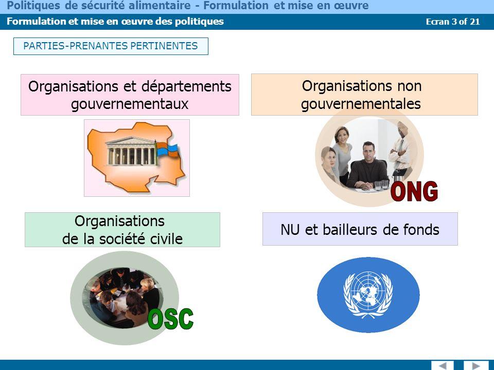 Ecran 3 of 21 Politiques de sécurité alimentaire - Formulation et mise en œuvre Formulation et mise en œuvre des politiques PARTIES-PRENANTES PERTINEN
