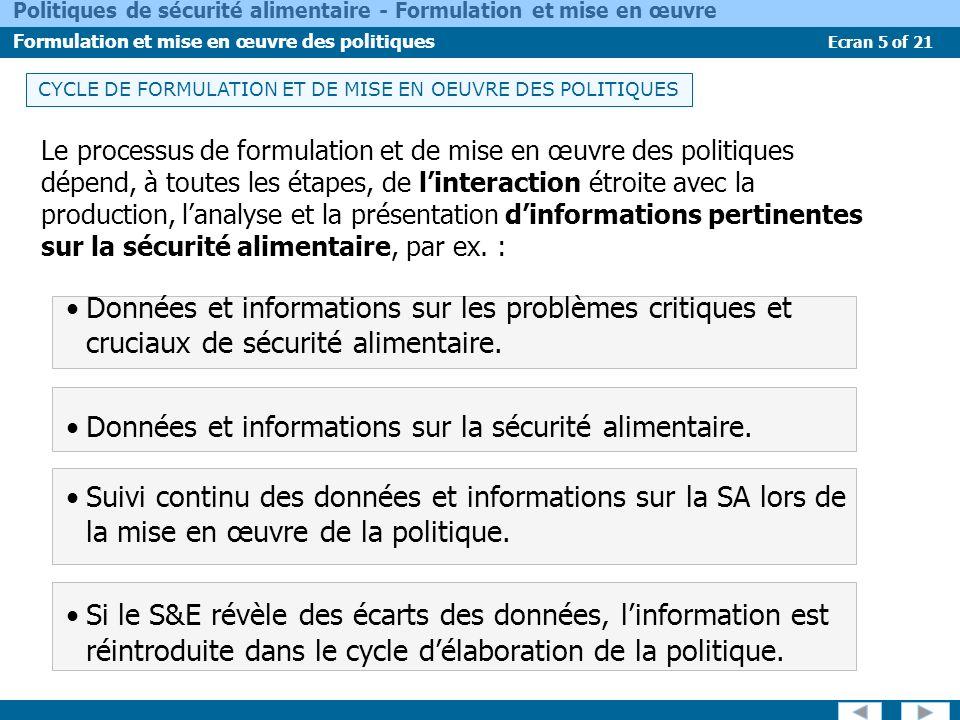 Ecran 16 of 21 Politiques de sécurité alimentaire - Formulation et mise en œuvre Formulation et mise en œuvre des politiques Sur la base des mesures et priorités définies dans le document, un plan daction stratégique de mise en œuvre des mesures politiques devra être élaboré..