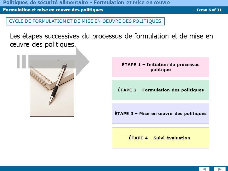 Ecran 6 of 21 Politiques de sécurité alimentaire - Formulation et mise en œuvre Formulation et mise en œuvre des politiques Les étapes successives du