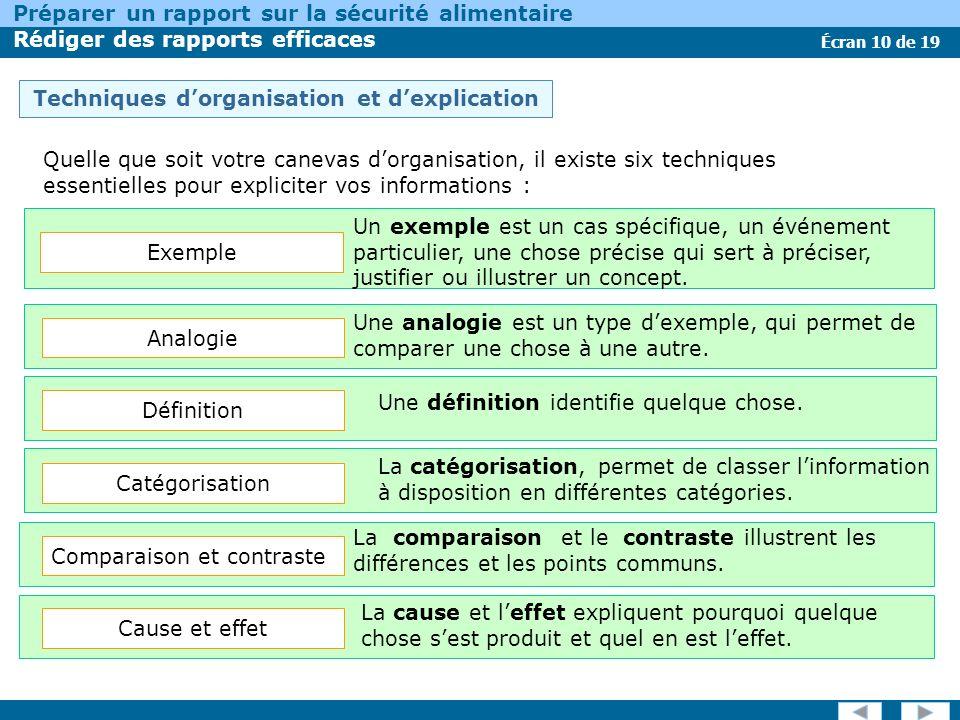 Écran 10 de 19 Préparer un rapport sur la sécurité alimentaire Rédiger des rapports efficaces Techniques dorganisation et dexplication Quelle que soit