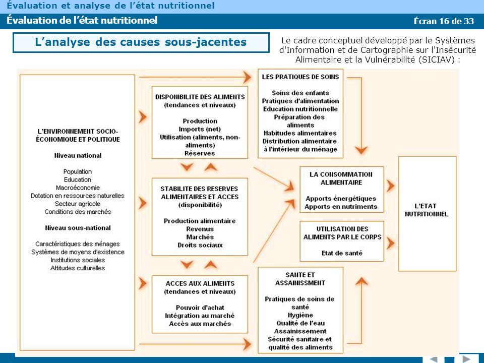 Écran 16 de 33 Évaluation et analyse de létat nutritionnel Évaluation de létat nutritionnel Le cadre conceptuel développé par le Systèmes d'Informatio