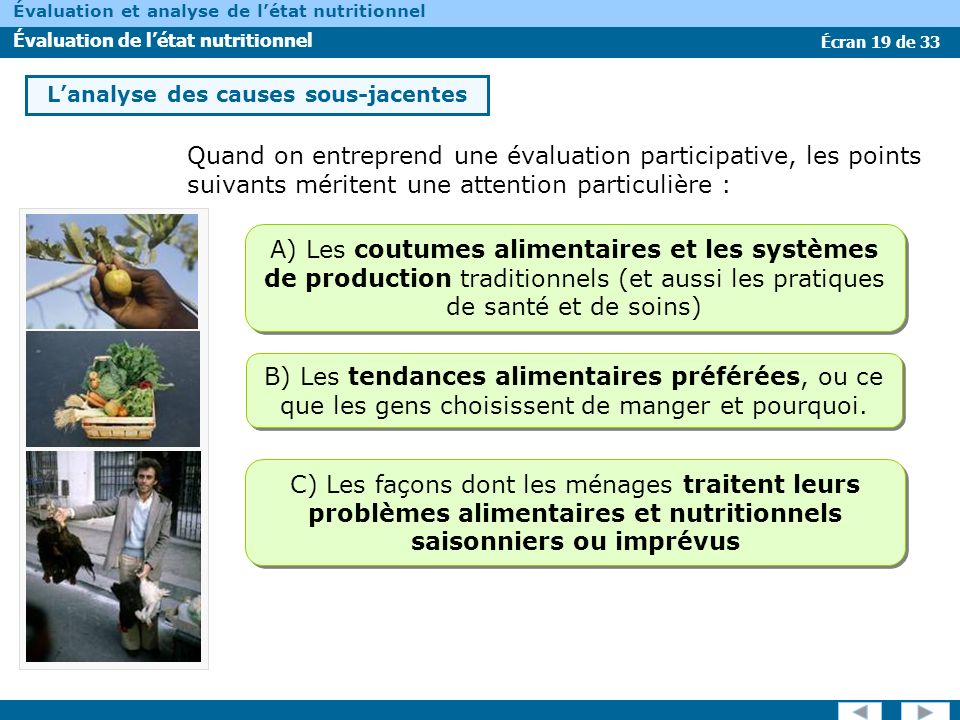 Écran 19 de 33 Évaluation et analyse de létat nutritionnel Évaluation de létat nutritionnel Quand on entreprend une évaluation participative, les poin