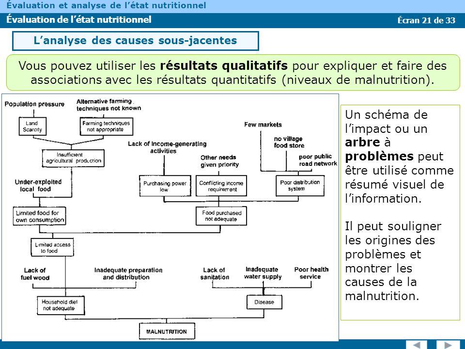 Écran 21 de 33 Évaluation et analyse de létat nutritionnel Évaluation de létat nutritionnel Un schéma de limpact ou un arbre à problèmes peut être uti