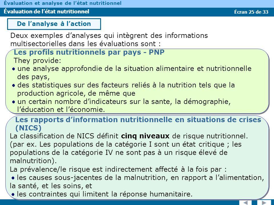 Écran 25 de 33 Évaluation et analyse de létat nutritionnel Évaluation de létat nutritionnel Deux exemples danalyses qui intègrent des informations mul