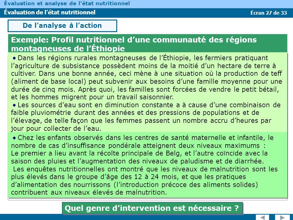 Écran 27 de 33 Évaluation et analyse de létat nutritionnel Évaluation de létat nutritionnel Exemple: Profil nutritionnel dune communauté des régions m