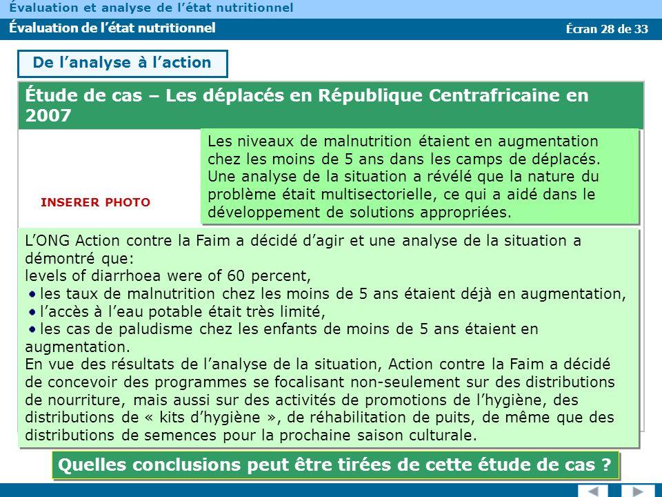 Écran 28 de 33 Évaluation et analyse de létat nutritionnel Évaluation de létat nutritionnel Étude de cas – Les déplacés en République Centrafricaine e
