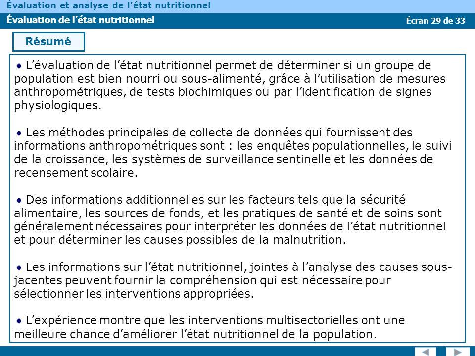 Écran 29 de 33 Évaluation et analyse de létat nutritionnel Évaluation de létat nutritionnel Résumé Lévaluation de létat nutritionnel permet de détermi