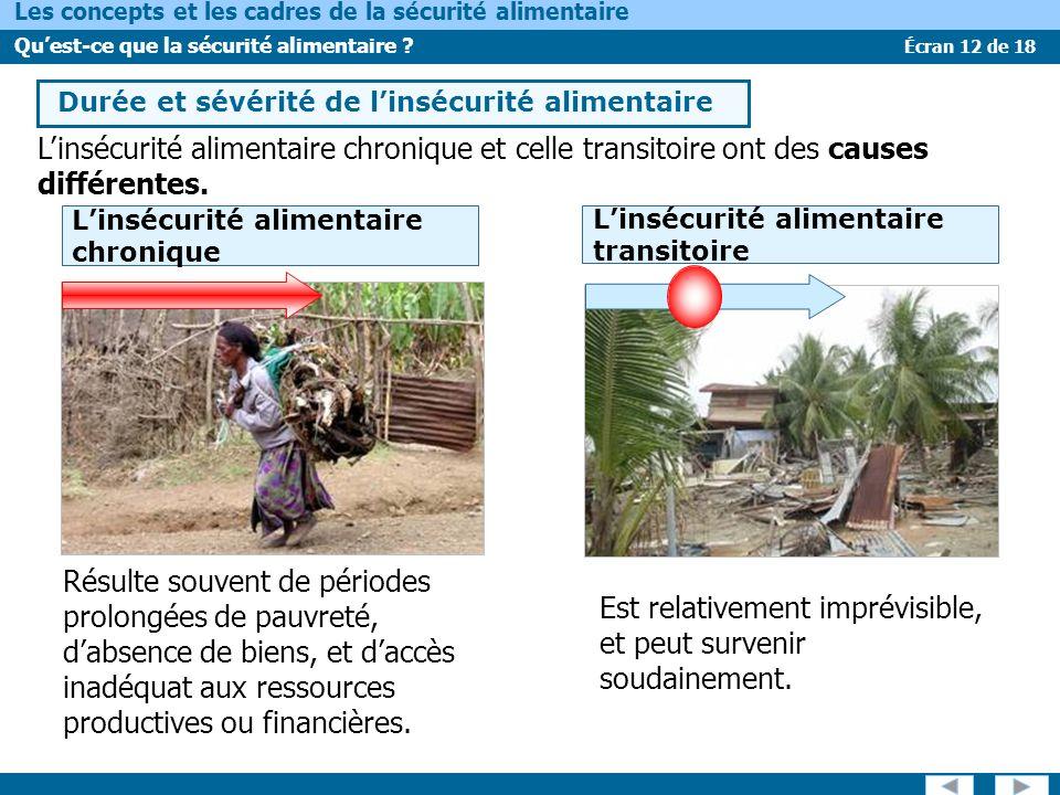 Écran 12 de 18 Les concepts et les cadres de la sécurité alimentaire Quest-ce que la sécurité alimentaire ? Linsécurité alimentaire chronique et celle