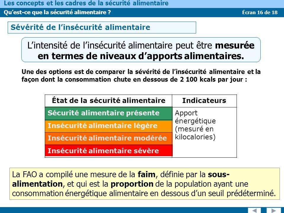 Écran 16 de 18 Les concepts et les cadres de la sécurité alimentaire Quest-ce que la sécurité alimentaire ? Sévérité de linsécurité alimentaire Linten