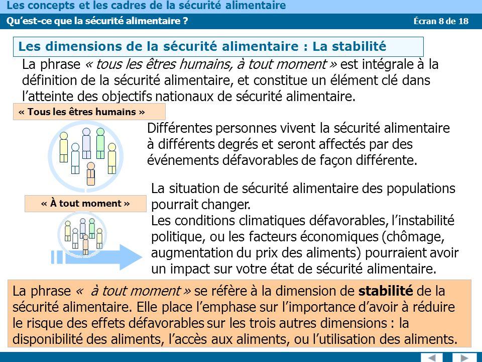 Écran 8 de 18 Les concepts et les cadres de la sécurité alimentaire Quest-ce que la sécurité alimentaire ? LES DIMENSIONS DE LA SÉCURITÉ ALIMENTAIRE –