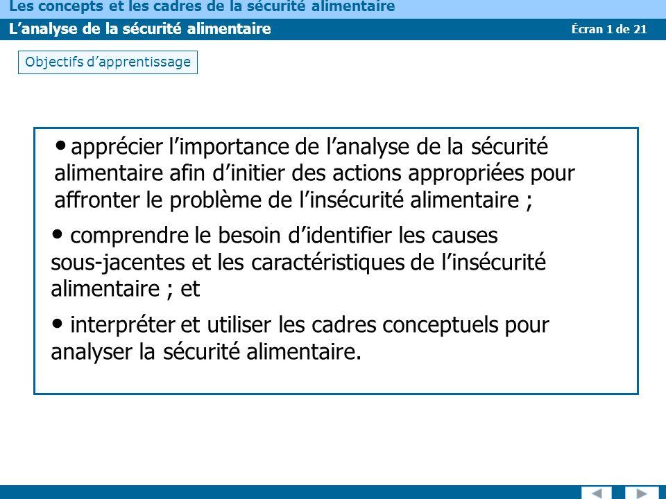 Écran 1 de 21 Les concepts et les cadres de la sécurité alimentaire Lanalyse de la sécurité alimentaire Objectifs dapprentissage apprécier limportance