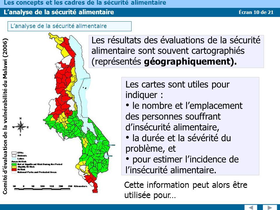 Écran 10 de 21 Les concepts et les cadres de la sécurité alimentaire Lanalyse de la sécurité alimentaire Comité dévaluation de la vulnérabilité du Mal