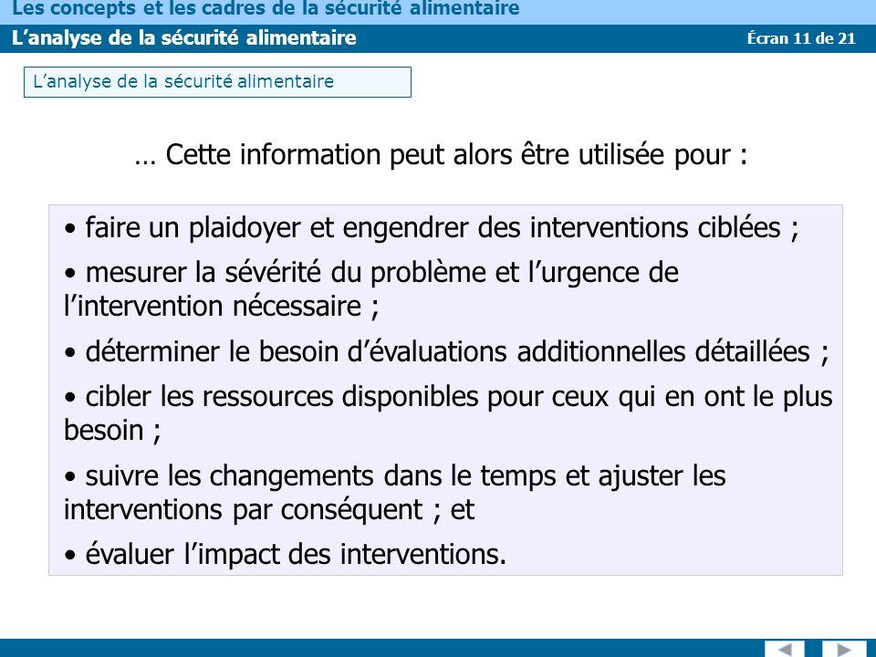 Écran 11 de 21 Les concepts et les cadres de la sécurité alimentaire Lanalyse de la sécurité alimentaire … Cette information peut alors être utilisée