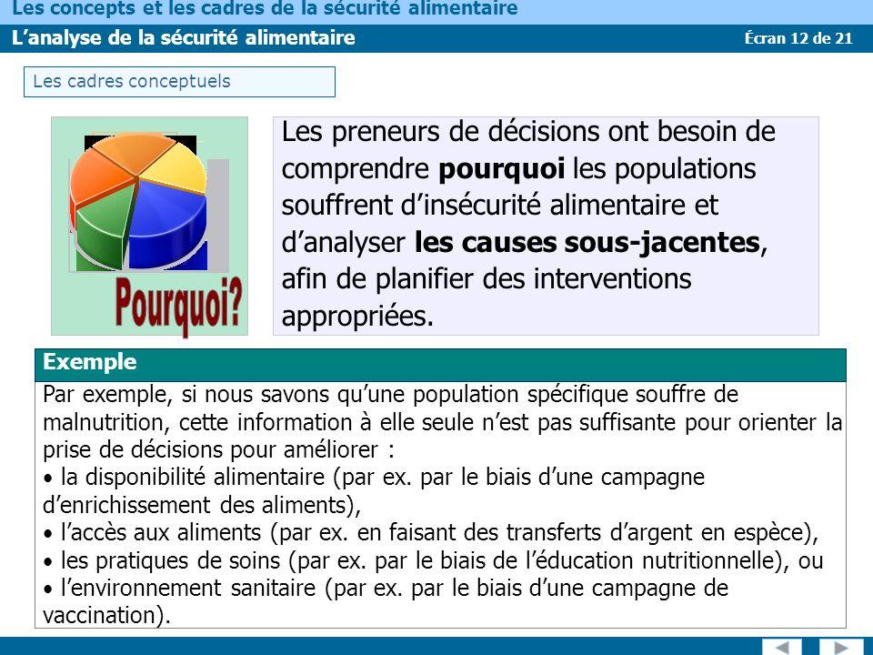 Écran 12 de 21 Les concepts et les cadres de la sécurité alimentaire Lanalyse de la sécurité alimentaire Les cadres conceptuels Exemple Par exemple, s