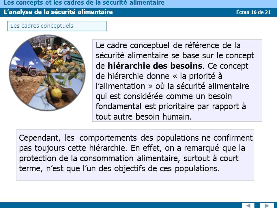 Écran 16 de 21 Les concepts et les cadres de la sécurité alimentaire Lanalyse de la sécurité alimentaire Le cadre conceptuel de référence de la sécuri