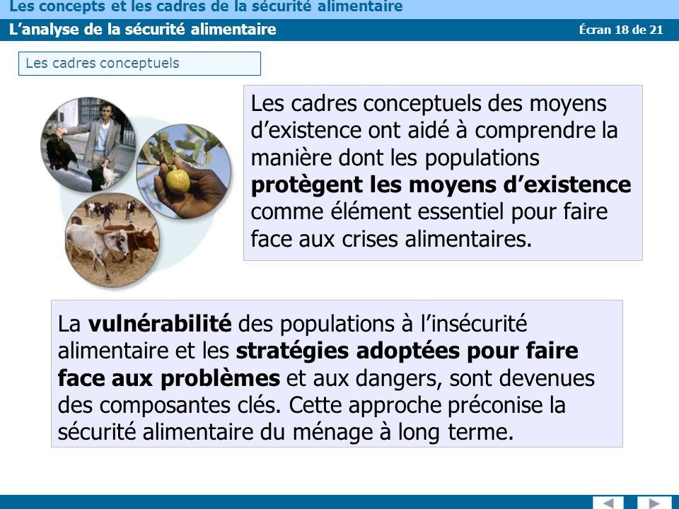 Écran 18 de 21 Les concepts et les cadres de la sécurité alimentaire Lanalyse de la sécurité alimentaire Les cadres conceptuels des moyens dexistence