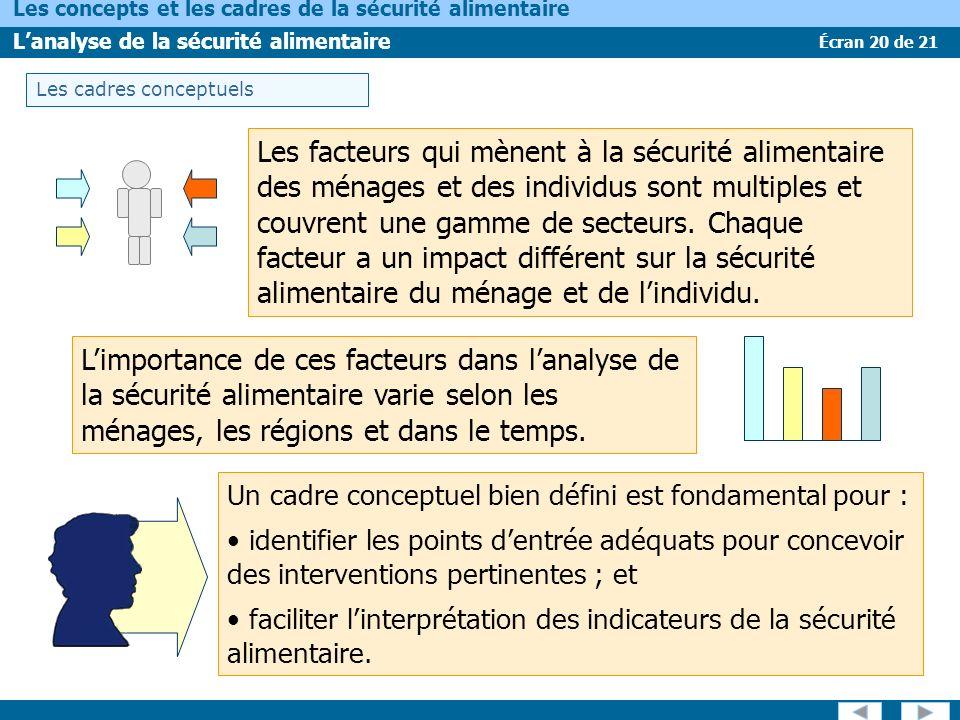 Écran 20 de 21 Les concepts et les cadres de la sécurité alimentaire Lanalyse de la sécurité alimentaire Les facteurs qui mènent à la sécurité aliment