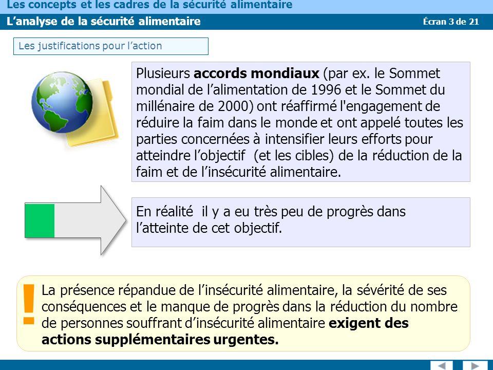 Écran 14 de 21 Les concepts et les cadres de la sécurité alimentaire Lanalyse de la sécurité alimentaire Le cadre de la FAO-SICIAV Les cadres conceptuels