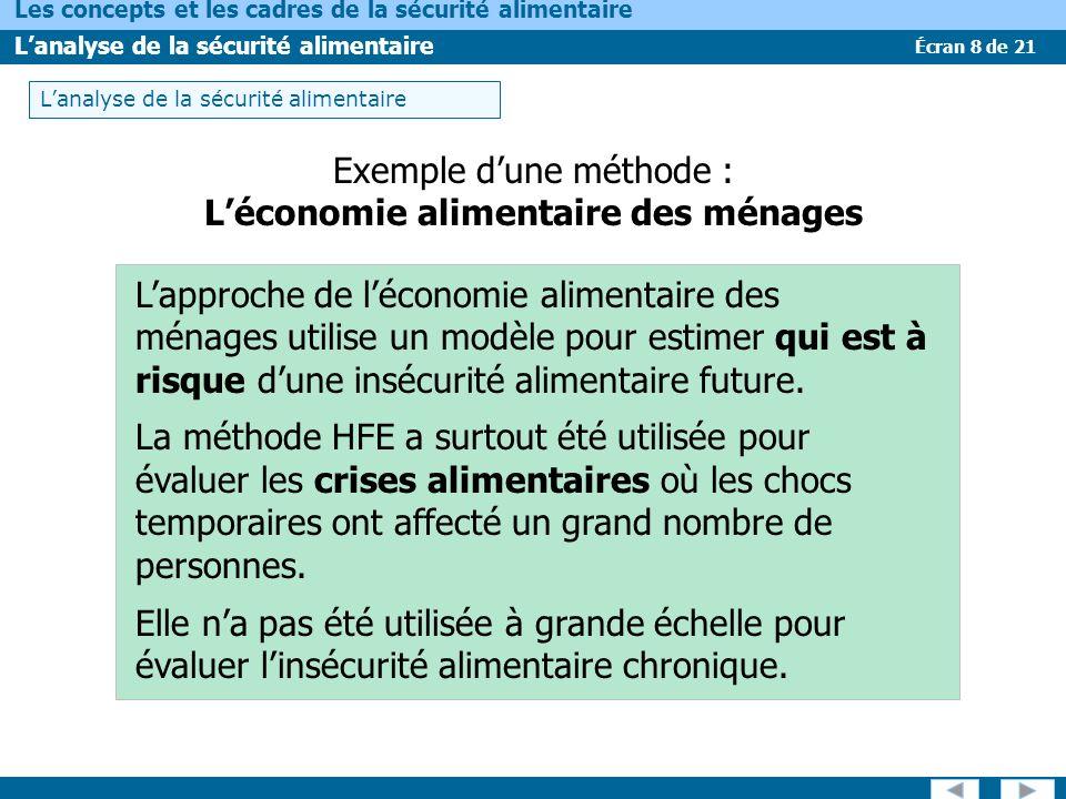Écran 9 de 21 Les concepts et les cadres de la sécurité alimentaire Lanalyse de la sécurité alimentaire Exemple dune méthode : Les évaluations de la malnutrition Les nutritionnistes utilisent plusieurs indicateurs pour évaluer létat nutritionnel des populations.