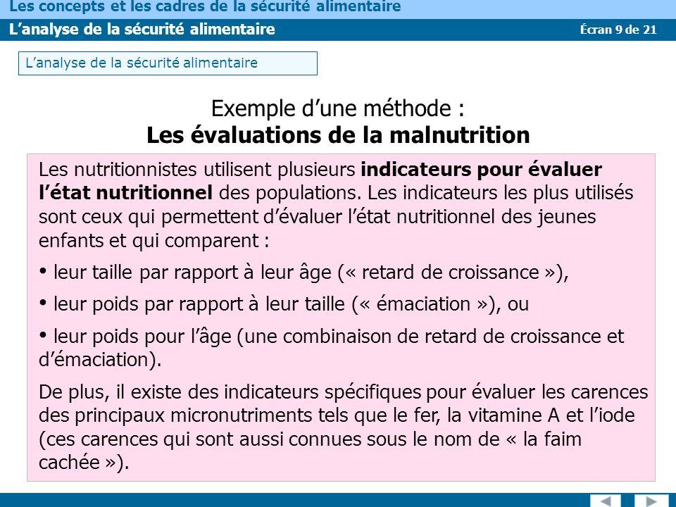 Écran 9 de 21 Les concepts et les cadres de la sécurité alimentaire Lanalyse de la sécurité alimentaire Exemple dune méthode : Les évaluations de la m