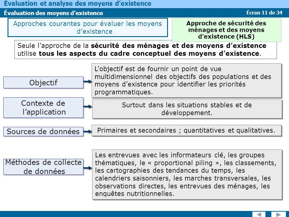 Écran 11 de 34 Évaluation et analyse des moyens dexistence Évaluation des moyens dexistence Objectif Seule lapproche de la sécurité des ménages et des