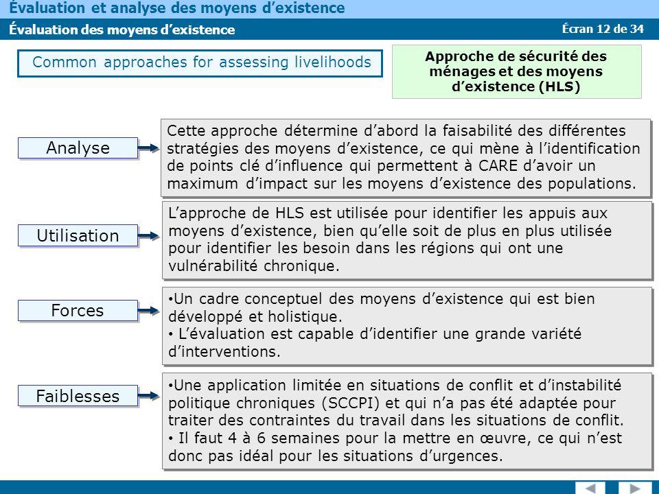 Écran 12 de 34 Évaluation et analyse des moyens dexistence Évaluation des moyens dexistence Forces Faiblesses Analyse Utilisation Common approaches fo