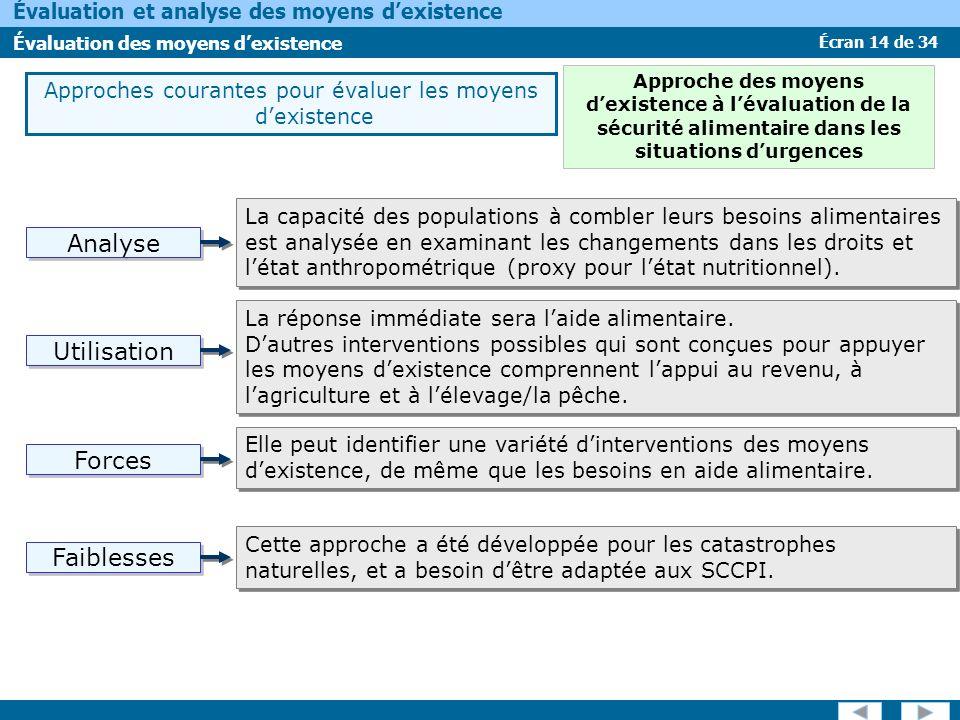 Écran 14 de 34 Évaluation et analyse des moyens dexistence Évaluation des moyens dexistence Approches courantes pour évaluer les moyens dexistence La