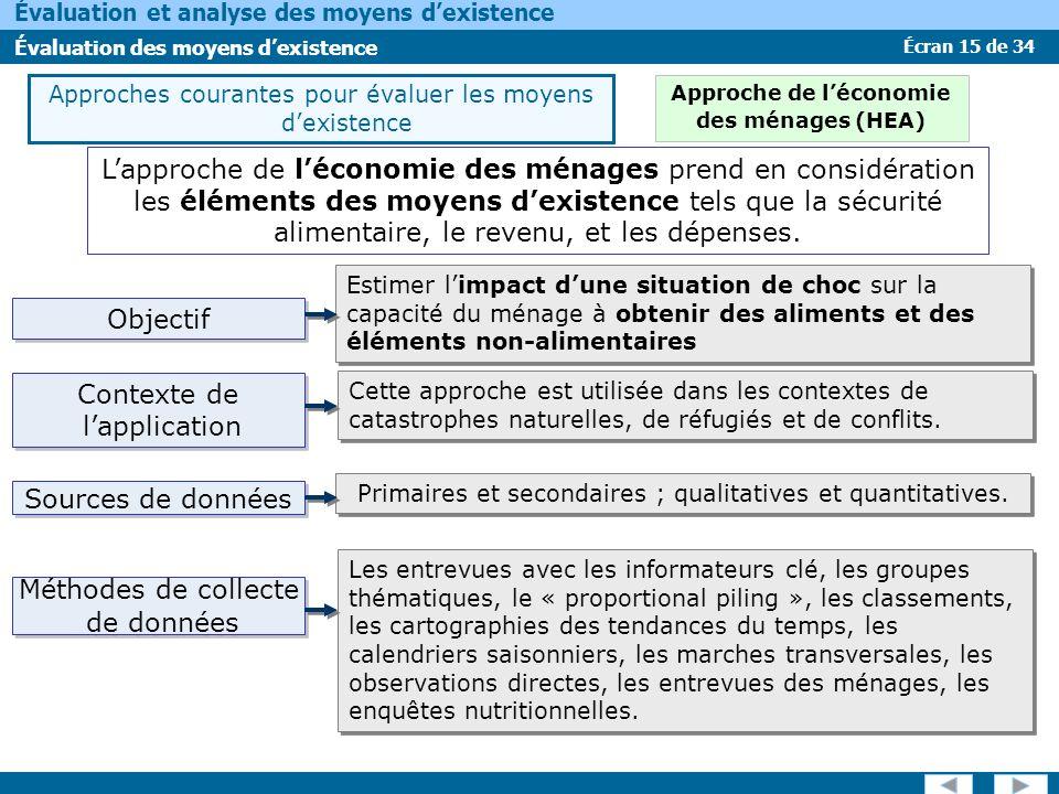 Écran 15 de 34 Évaluation et analyse des moyens dexistence Évaluation des moyens dexistence Lapproche de léconomie des ménages prend en considération