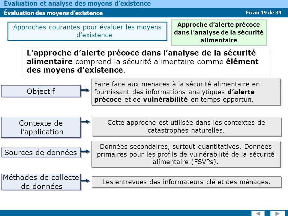 Écran 19 de 34 Évaluation et analyse des moyens dexistence Évaluation des moyens dexistence Lapproche dalerte précoce dans lanalyse de la sécurité ali